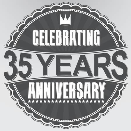 35th: Celebrating 35 years anniversary retro label, vector illustration