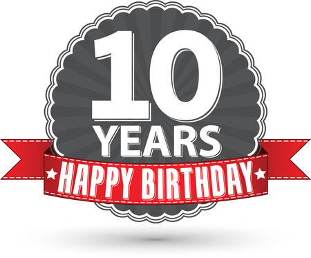 10: Happy birthday 10 years retro label with red ribbon