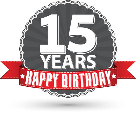 Happy birthday 15 years retro label with red ribbon