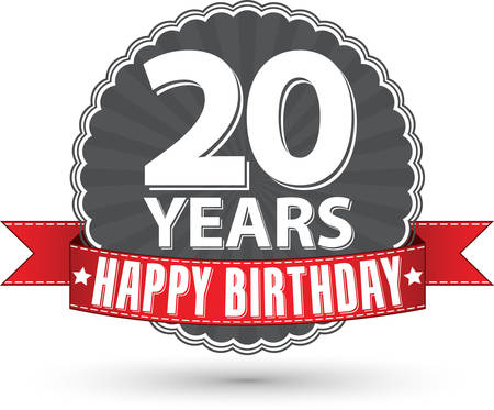 20th: Happy birthday 20 years retro label with red ribbon