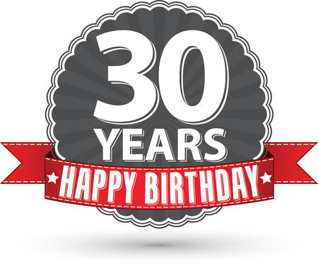 30 years: Happy birthday 30 years retro label with red ribbon