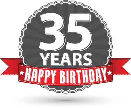 35th: Happy birthday 35 years retro label with red ribbon