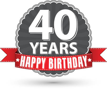 40 years: Happy birthday 40 years retro label with red ribbon