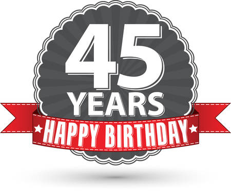 45th: Happy birthday 45 years retro label with red ribbon