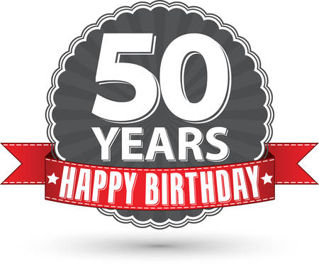 50 years: Happy birthday 50 years retro label with red ribbon