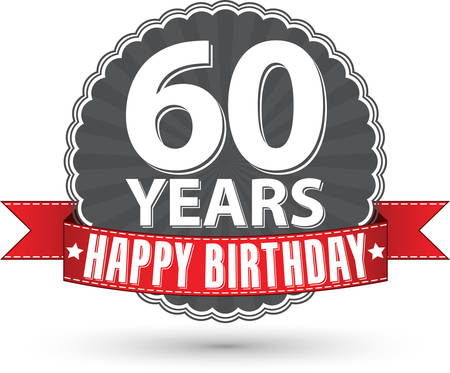 Happy birthday 60 years retro label with red ribbon Stock Illustratie