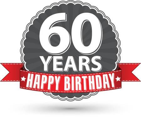 Happy birthday 60 years retro label with red ribbon Illustration