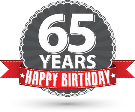 65th: Celebrating 65Happy birthday 65 years retro label with red ribbon