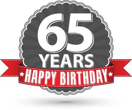 Celebrating 65Happy birthday 65 years retro label with red ribbon