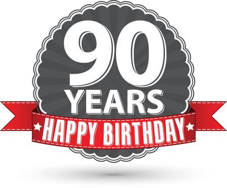90 years: Buon compleanno 90 anni etichetta retr� con nastro rosso