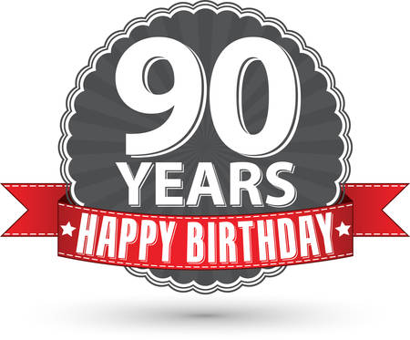 90 years: Happy birthday 90 years retro label with red ribbon