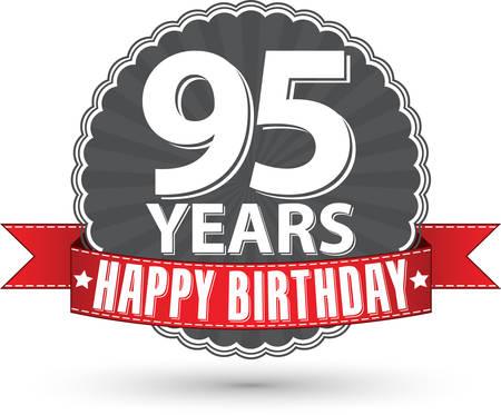 95: Buon compleanno 95 anni etichetta retr� con nastro rosso