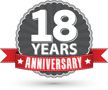 happy 18th birthday: 18 years anniversary retro label with red ribbon, vector illustration Illustration