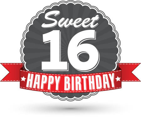 16 years: Happy birthday 16 years retro label with red ribbon, vector illustration Illustration
