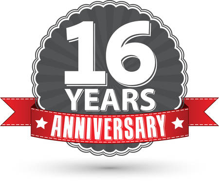 16 years: Celebrating 16 years anniversary retro label with red ribbon, vector illustration