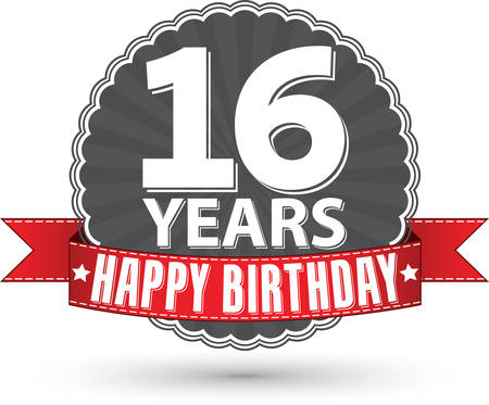 16: Happy birthday sweet 16 years retro label with red ribbon, vector illustration