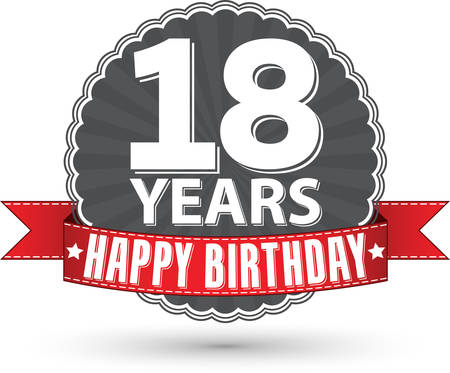 happy birthday 18: Happy birthday 18 years retro label with red ribbon, vector illustration