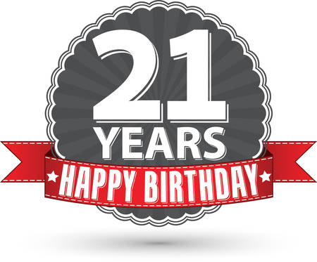 Happy birthday 21 years retro label with red ribbon, vector illustration
