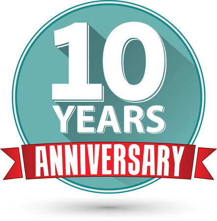 Flat design 10 years anniversary label with red ribbon, vector illustration 版權商用圖片 - 38513956