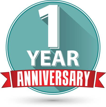 anniversaire: Design plat �tiquette anniversaire de 1 an avec un ruban rouge, illustration vectorielle Illustration