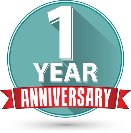 Flat design 1 year anniversary label with red ribbon, vector illustration