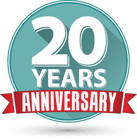 Vlakke uitvoering 20 jaar jubileum label met rood lint, vector illustratie