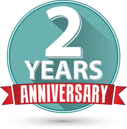Flat design 2 years anniversary label with red ribbon, vector illustration Illustration