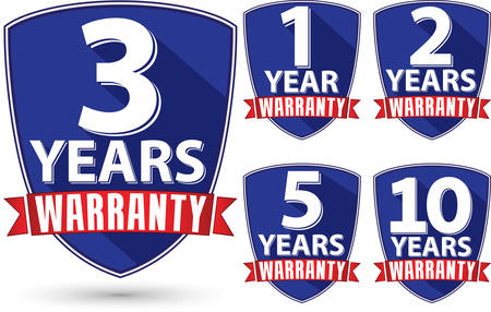 3 5 years: Flat design warranty label set with red ribbon, vector illustration Illustration