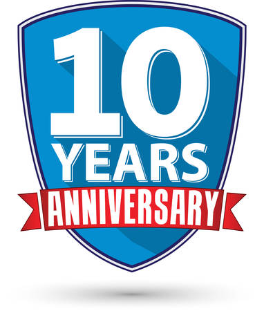 anniversary: Flat design 10 years anniversary label with red ribbon, vector illustration