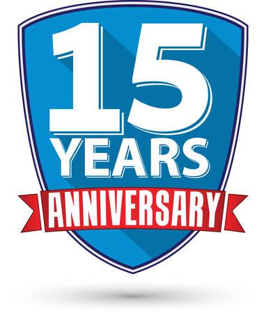 anniversaire: Design plat 15 années étiquette d'anniversaire avec un ruban rouge, illustration vectorielle