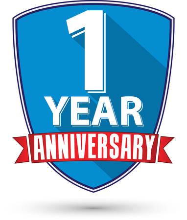 1 year anniversary: Flat design 1 year anniversary label with red ribbon, vector illustration