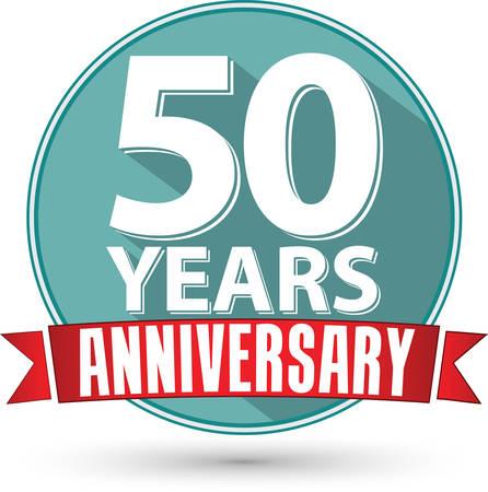aniversario: Diseño de la etiqueta aniversario 50 años plana con cinta roja, ilustración vectorial Vectores