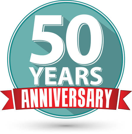 happy anniversary: Flat design 50 year anniversary label with red ribbon, vector illustration