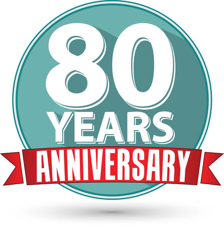 anniversary celebration: Flat design 80 years anniversary label with red ribbon, vector illustration