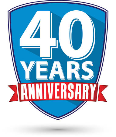 40th: Flat design 40 years anniversary label with red ribbon, vector illustration Illustration