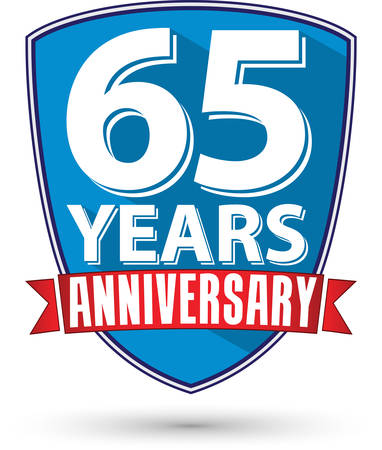 65th: Flat design 65 years anniversary label with red ribbon, vector illustration