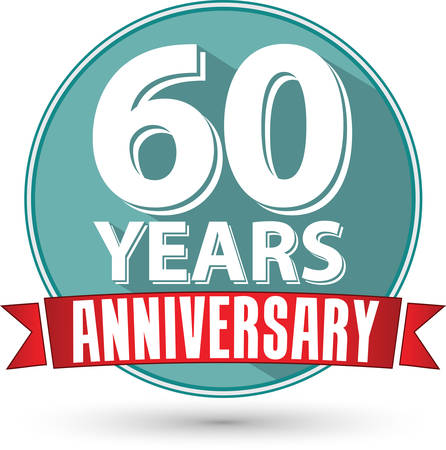 60 years: Flat design 60 years anniversary label with red ribbon, vector illustration