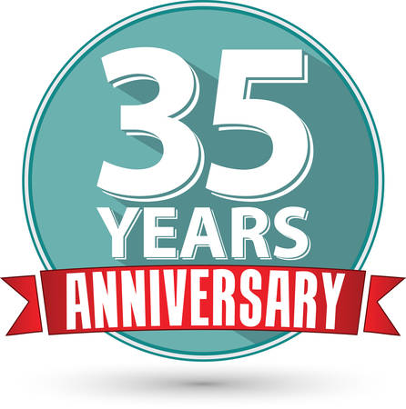 35: Flat design 35 years anniversary label with red ribbon, vector illustration