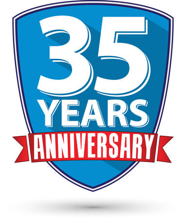 35th: Flat design 35 years anniversary label with red ribbon, vector illustration
