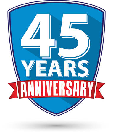 45th: Flat design 45 years anniversary label with red ribbon, vector illustration