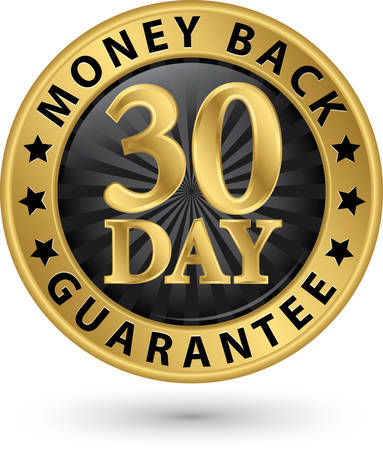 advantages: 30 day money back guarantee golden sign, vector illustration Illustration