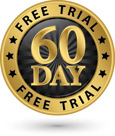 trial: 60 day free trial golden label, vector illustration Illustration
