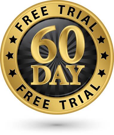60: 60 day free trial golden label, vector illustration Illustration