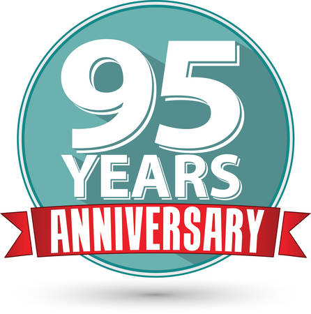 95: Flat design 95 years anniversary label with red ribbon, vector illustration