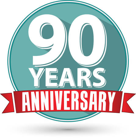 90: Flat design 90 years anniversary label with red ribbon, vector illustration