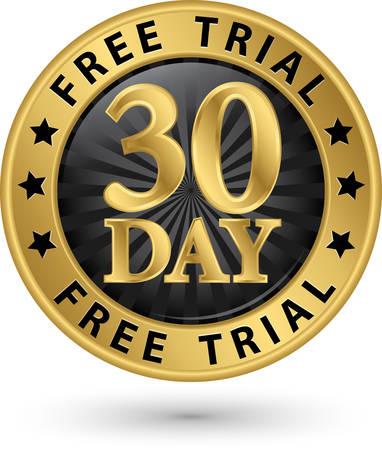 30: 30 day free trial golden label, vector illustration
