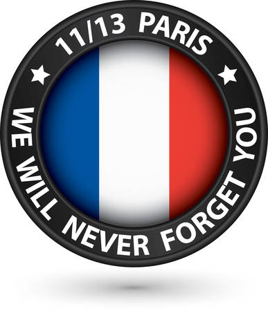 13: 13 November 2015 pray for Paris black label with france flag, vector illustration