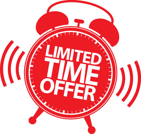 Limited time offer red label, vector illustration
