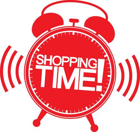 alarm clock: Shopping time alarm clock, vector illustration