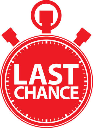 last minute: Last chance stopwatch icon, vector illustration